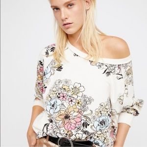 Free People NWT Go On Floral Pullover Sweatshirt